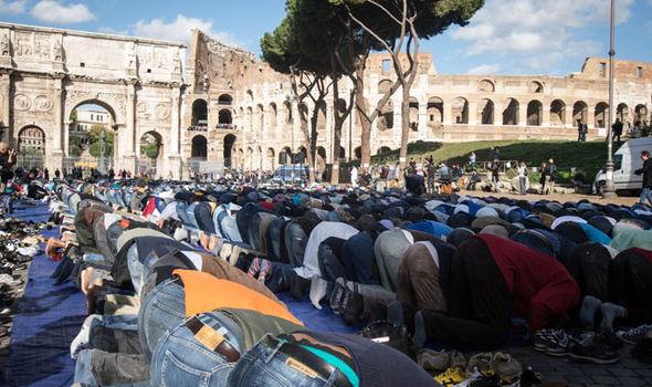 Muslims pray at makeshift mosque