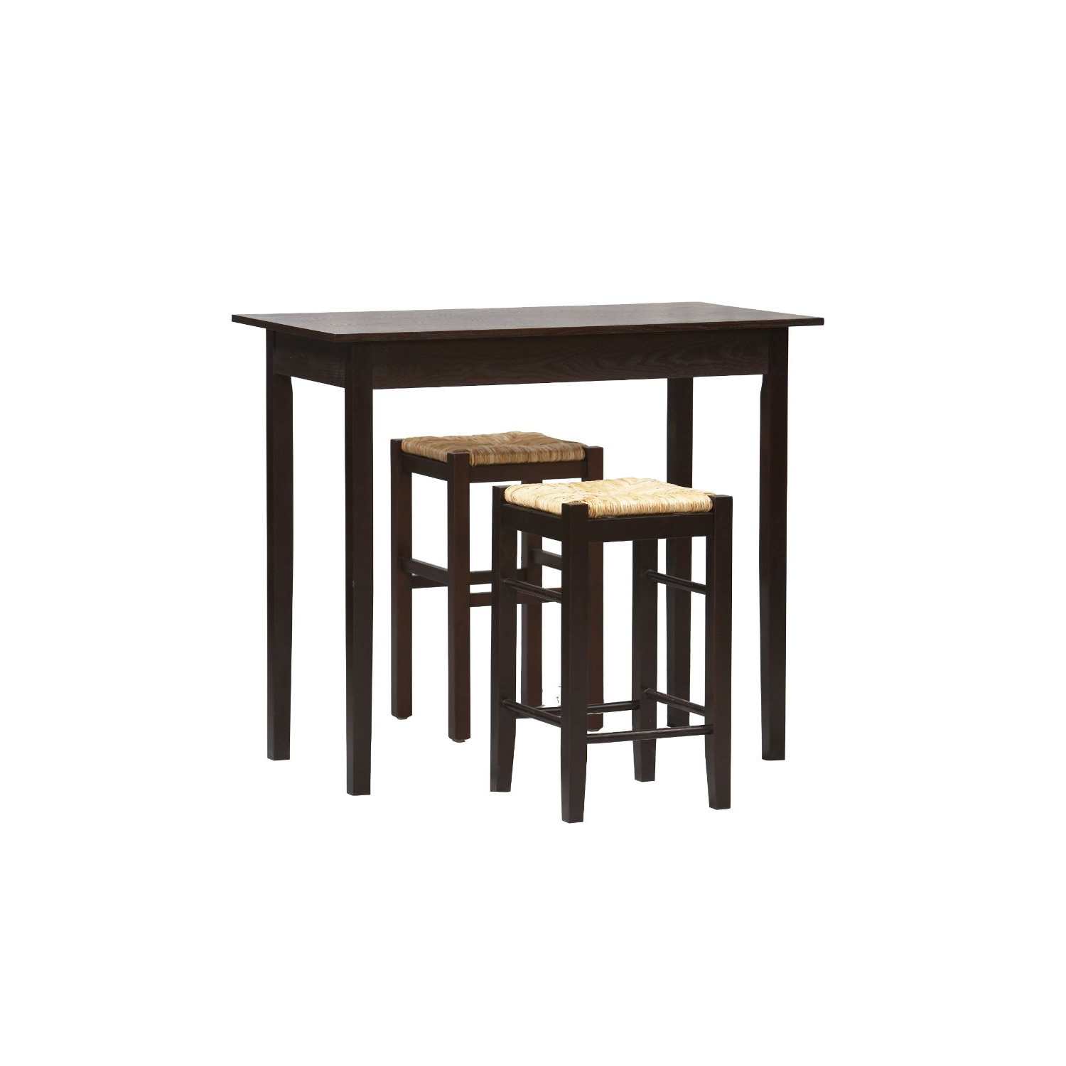space saving dining table and 2 chairs two seat kitchen table this 3 piece espresso dining set with table and 2 backless stools has space saving convenience
