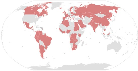 These are the countries, where country leaders, politicians, public officials, or their close family/associates are implicated in the Panama Papers. | Author: JCRules | 3 April 2016 | Brown: Countries of people implicated | Grey: Countries without people implicated (excludes businesspeople and celebrities) | Creative Commons Attribution-Share Alike 4.0 International license. | Wikimedia Commons.