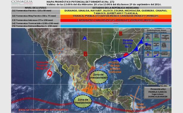 La Conagua está advirtiendo sobre los tres fenómenos meteorológicos. Foto de Conagua.