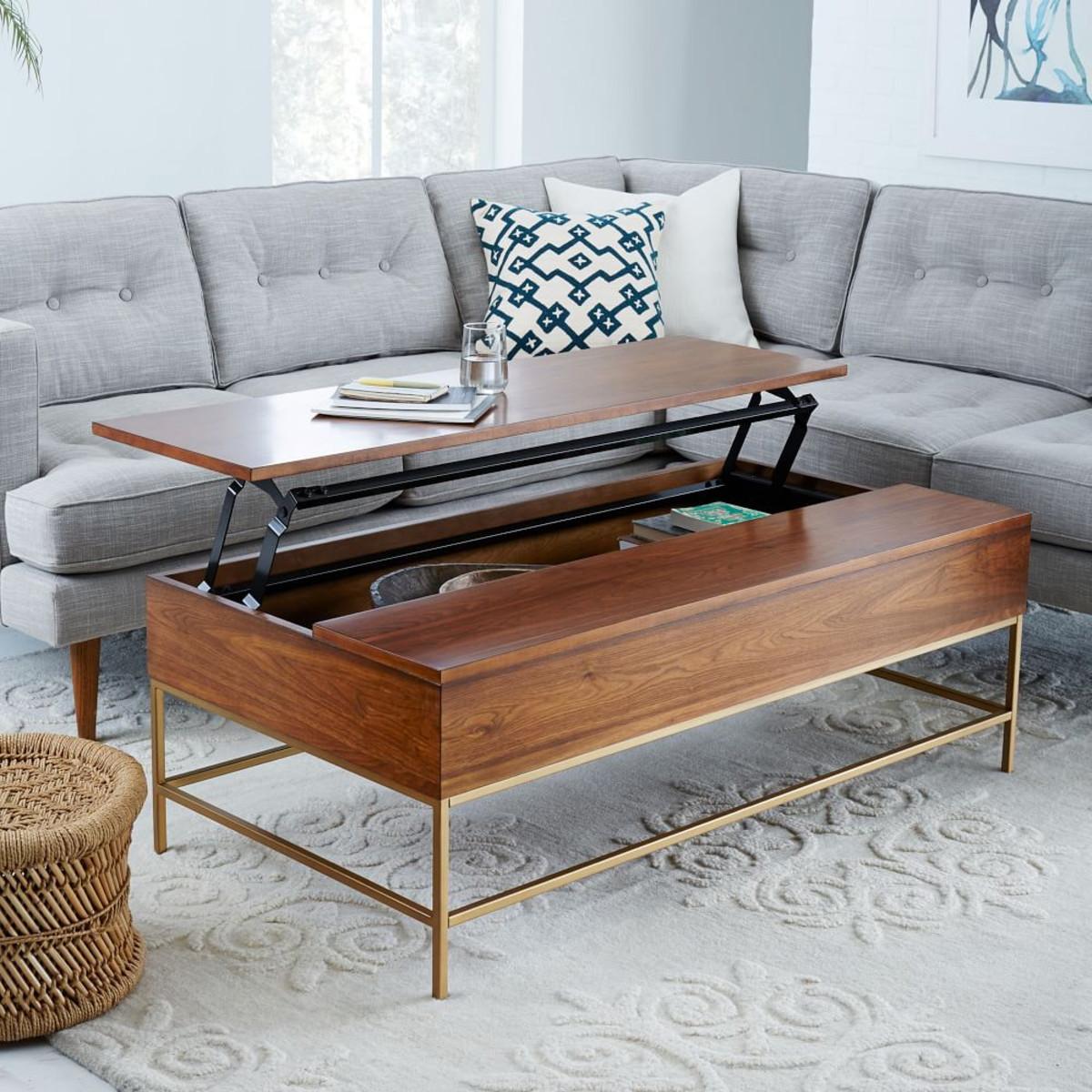 Lummy West Elm Storage Coffee Table Walnut Brass Living Room Table Sets Glass Living Room Table Sets Rustic houzz-03 Living Room Table Sets