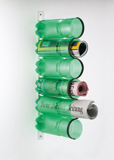 plastic bottle magazine rack