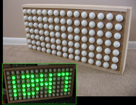 Ping pong ball display from Hack a Day.