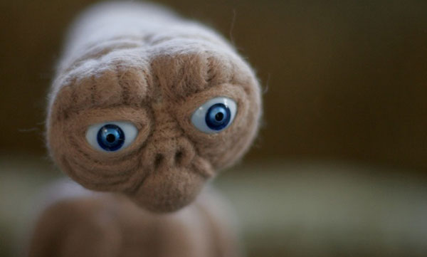 ET, Ray Cannon's Needle Felted Sculpture
