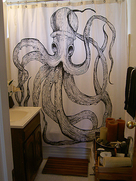 Handpainted Vintage Octopus Shower Curtain.jpg