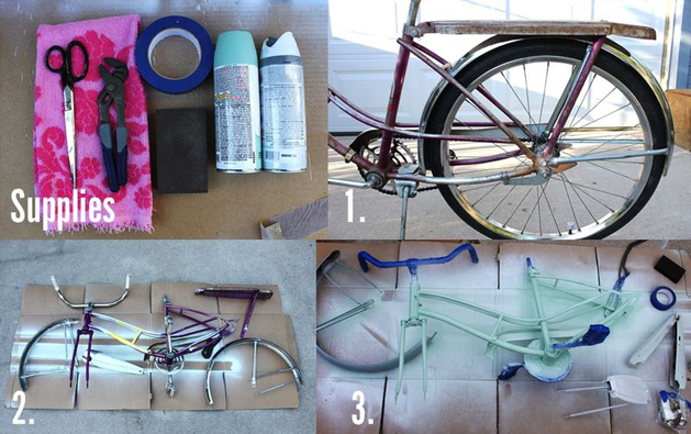 of repainting a bike but this diy bike makeover makes it look easy. Black Bedroom Furniture Sets. Home Design Ideas