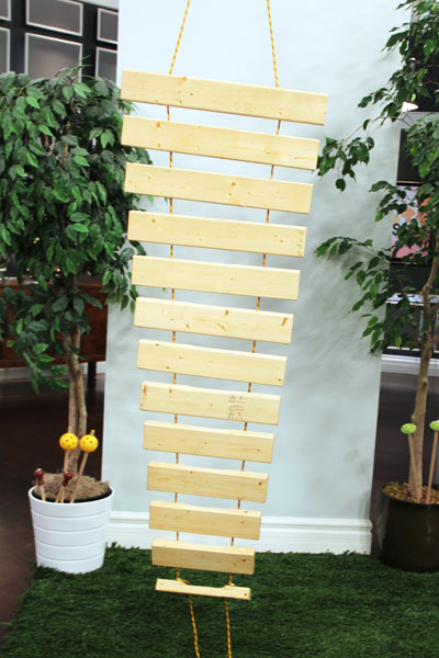 Vertical hanging backyard xylophone from Steven and Chris.