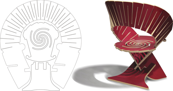 Gregg Felishman's Nebula II chair, and plan. Note spiral-cut flexure to cushion seat.