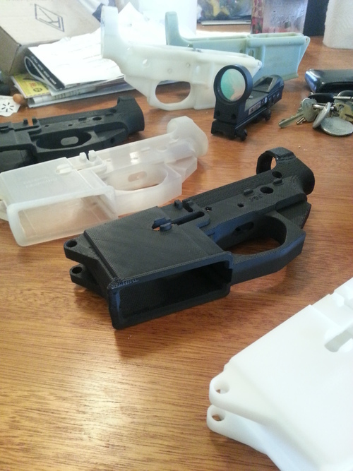 Defense Distributed's six printed AR-15 lower receiver prototypes.