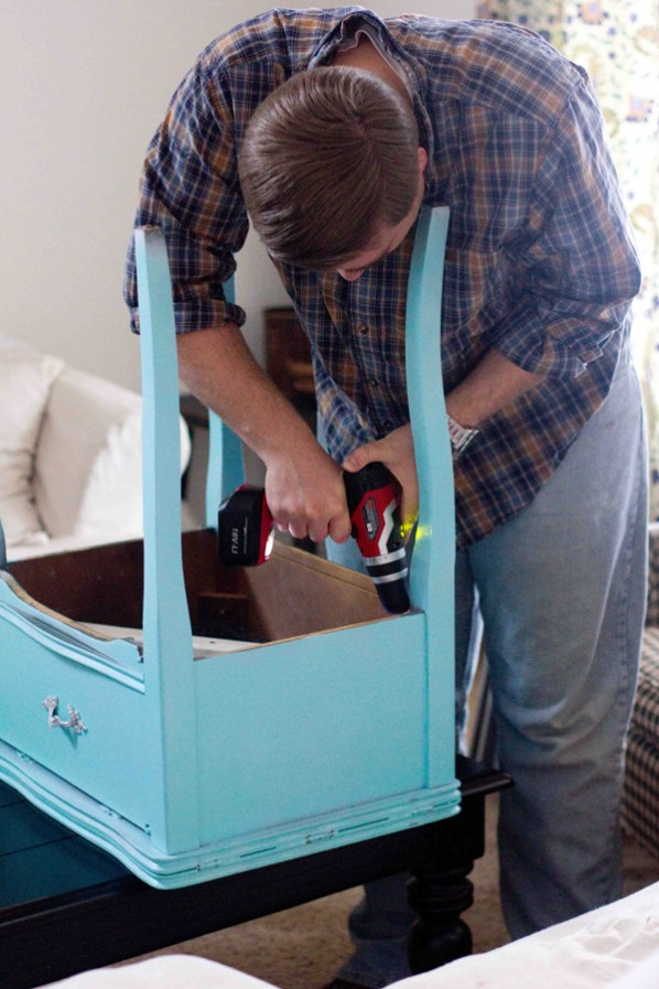 Sewing cabinet drink table and cooler make for Table th bottom