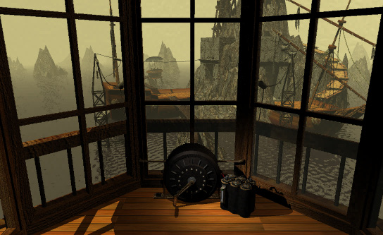 """An example of one of Myst's """"puzzles"""": this generator powered an antiquated battery."""