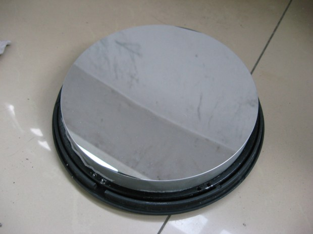"""Freshly aluminized 10"""" primary mirror, courtesy ZWO Optical."""