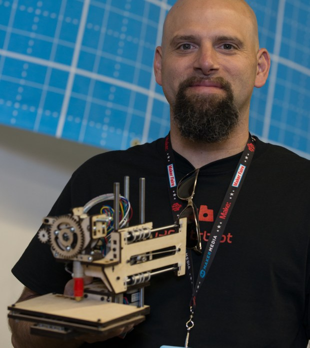 Brook Drumm of Printrbot with the new Printrbot Simple, in the Maker Shed at Maker Faire.
