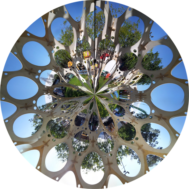 A panoramic view of Maker Faire Bay Area from within one of Rob Bell's zomes.