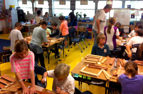 Briony Chown's fourth graders at Explorer Elementary in San Diego use woodworking to build a welcoming room for an immigrant from a different time period, using primary interview research with recent immigrants.