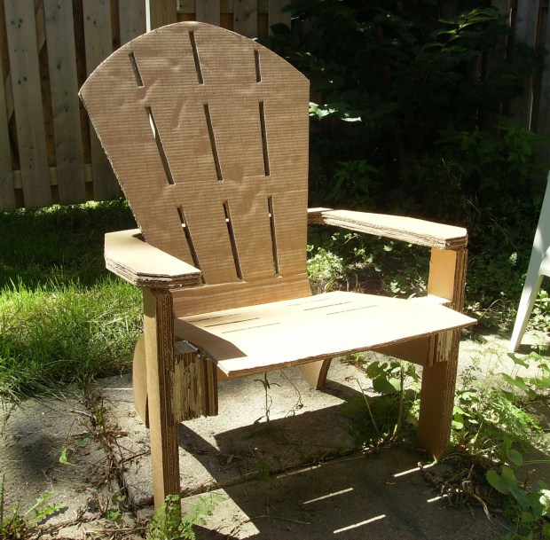 The outdoor cardboard Adirondack chair