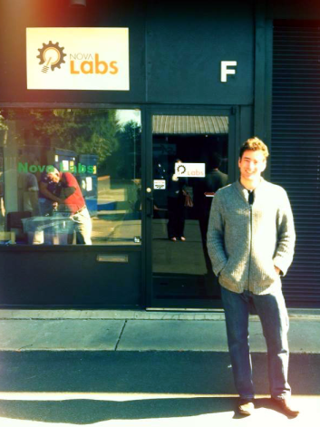 Me, outside Nova Labs. (Members can be seen doing some woodworking in the window).