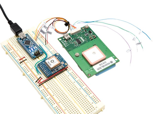 "Each RockBlock ships with a 10-pin JST-terminated cable that snaps onto the board and exposes the various signal lines client devices can connect to. The simplest setup, shown here, is what Iridium calls a ""3-wire"" TTL serial interface, with signal lines for TX, RX, and Sleep. (To connect your Arduino and GPS as shown, see page 59.)"