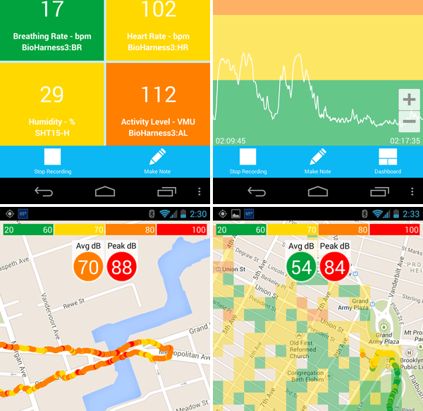 Screenshots of the AirCasting app