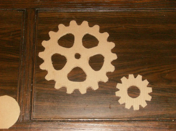 Hand cut cardboard gears