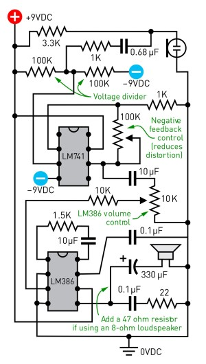 An audio amplifier circuit.