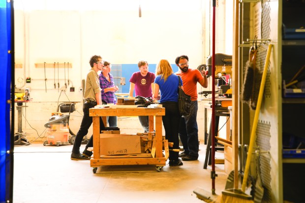 2. The company offers from 100 to 200 classes per month, like this one in the woodshop, from introductory to advanced.