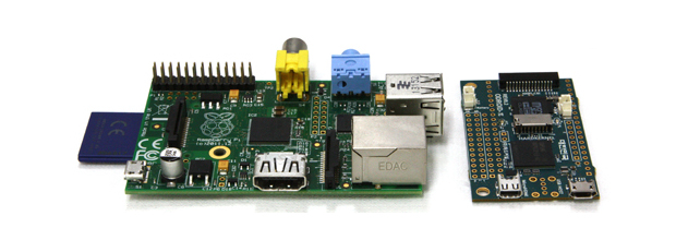The Raspberry Pi Model B (left) compared to the Hardkernel ODROID-W (right)