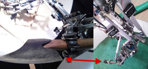 Fig. 14: Art-Bot initial test combined a Sawzall & axe tool