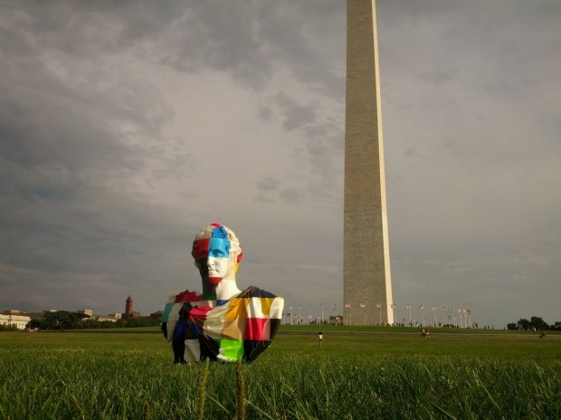 George lives at the Washington Monument in Baltimore, but went to visit the one in DC