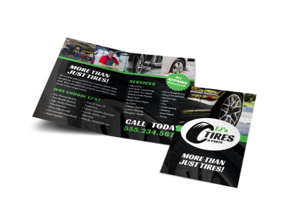 Auto Repair Advertising  Create Flyers  Brochures  Posters   More Tire Auto Repair Bi Fold Brochure Template