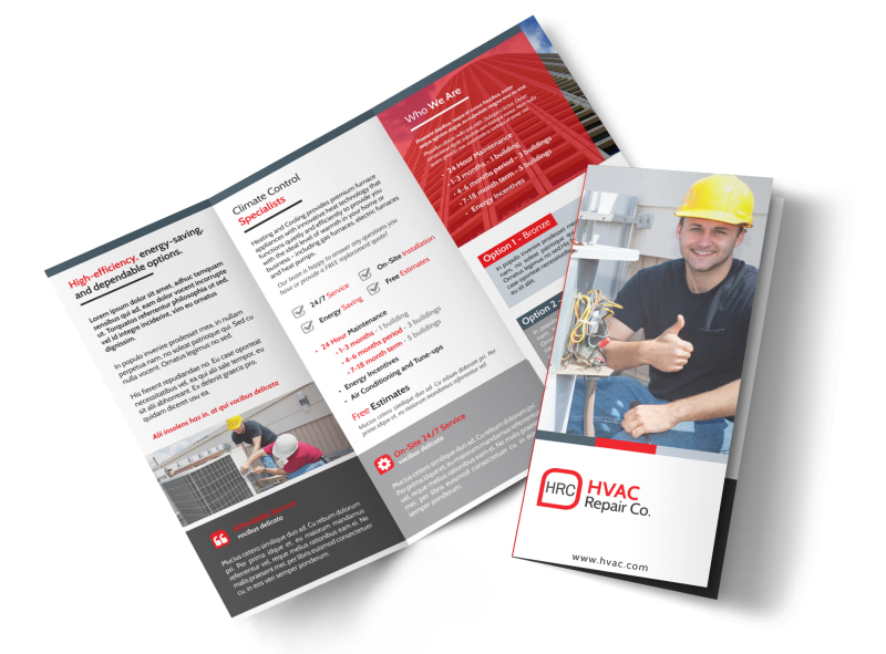 HVAC About Us Tri Fold Brochure Template   MyCreativeShop HVAC About Us Tri Fold Brochure Template