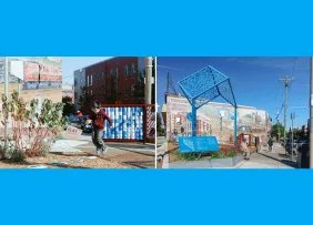 Urban Thinkspace transformed an abandoned lot next to a bus stop in West Philadelphia into an interactive play space.