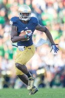 Notre Dame unveiled its shiner, brighter helmet midway through 2011 against USC. DaVaris Daniels is pictured with it against Oklahoma in 2013.