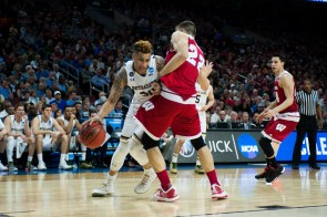 Irish senior forward Zach Auguste looks to score during Notre Dame's 61-56 win over Wisconsin on March 25.