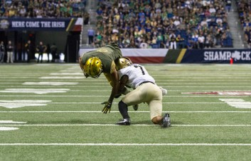 An Army player tackles a Notre Dame player in Saturday's contest.