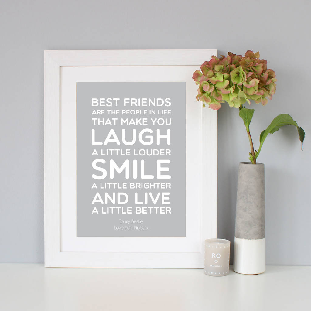 Neat Light Grey Gift Quote Print By Hope Love Friend Quotes Short Friend Quotes To Make M Cry inspiration Best Friend Quote