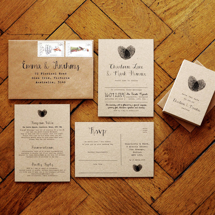 wedding invitation suites uk wedding invitation suites Fingerprint And Calligraphy Wedding Invitation Suite By Feel Good