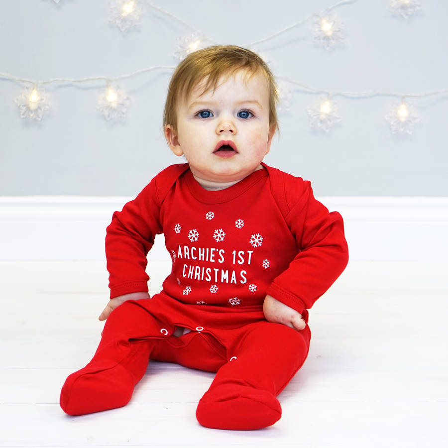 Sparkling Baby S Clos Baby S Bauble Personalised Snowflake Sleepsuit Personalised Snowflake Sleepsuit By Sparks inspiration Babys First Christmas