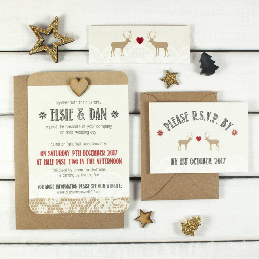 christmas wedding invitations christmas wedding invitations Lace Stag Christmas Wedding Invitations By Norma Dorothy