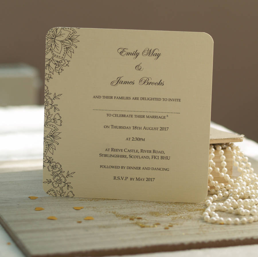 Vintage Lace Wedding Invitations By Beautiful Day