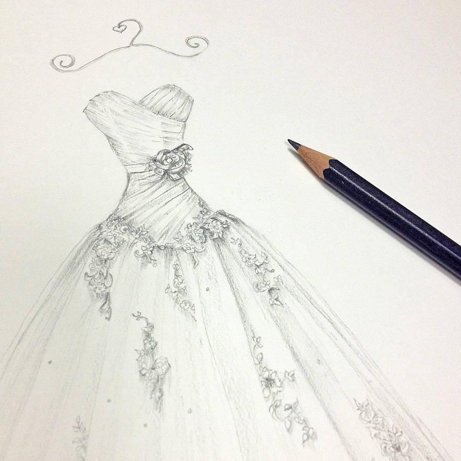 wedding dress portrait pencil pencil wedding dresses Pencil Wedding Dress Portrait