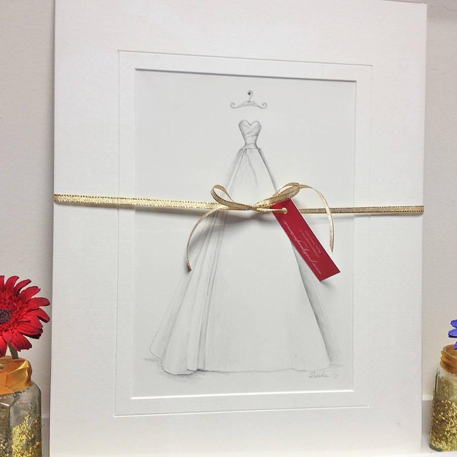 wedding dress portrait pencil pencil wedding dresses Pencil Wedding Dress Portrait Wedding Anniversary Gift