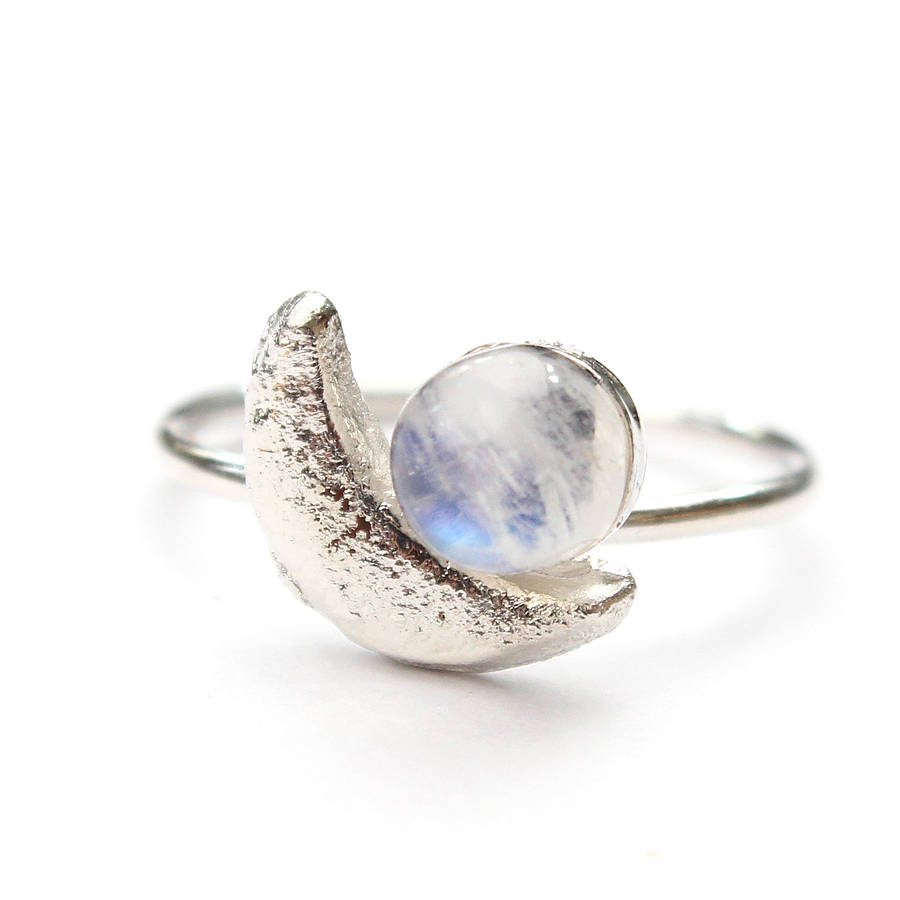 silver crescent moon and moonstone ring moonstone wedding rings Silver Crescent Moon And Moonstone Ring
