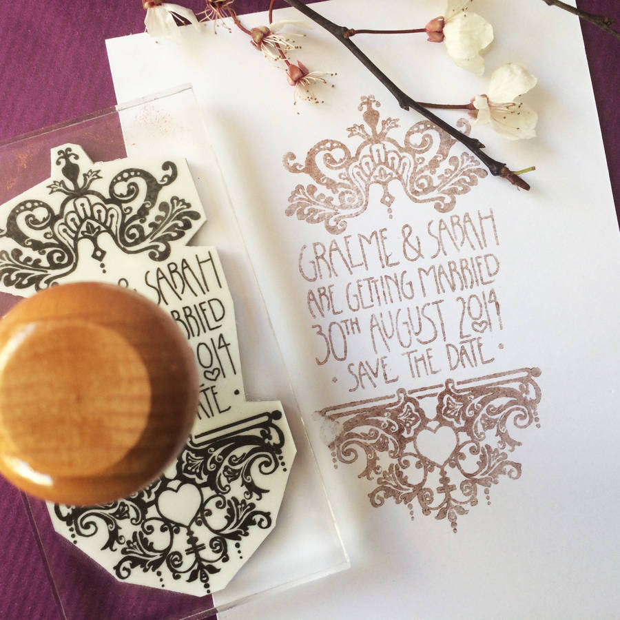 customised wedding invitation stamp wedding stamps Personalised Filigree Wedding Stamp By Bloomfield Rolfe