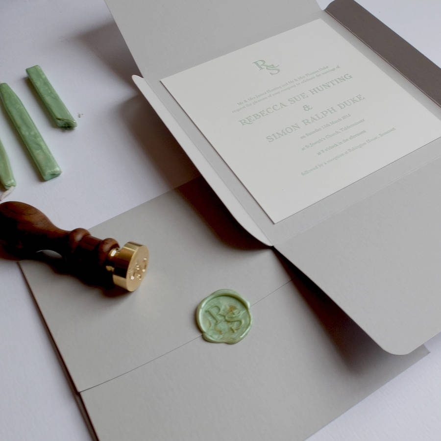 lime green wedding invitations with wax seal letterpress wedding invitations Wax Seal Letterpress Wedding Invitation By Wolf Ink