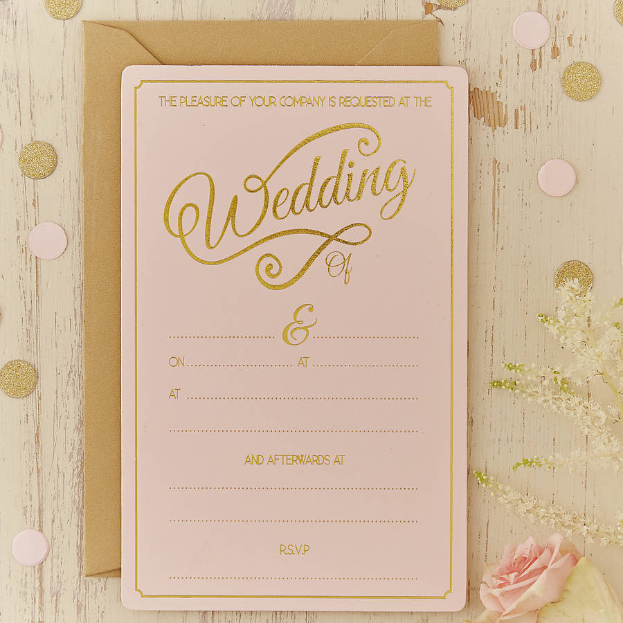pink and gold wedding invitations set gold wedding invitations Pink And Gold Wedding Invitations Katinabags