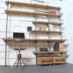 Caroline Wood and Pipe Industrial Desk and Shelves by Urban Grain