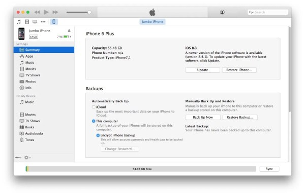 iTunes option click Update button to update with firmware manually