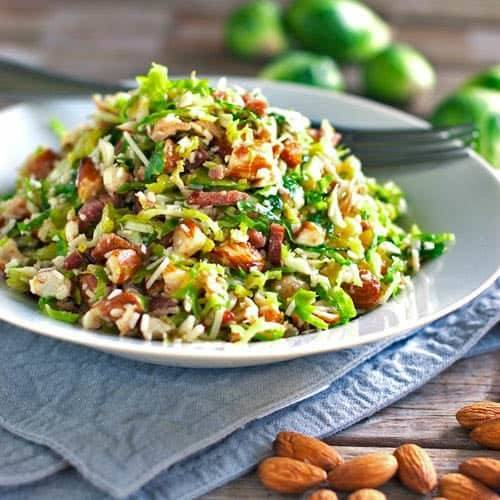 Paleo Warm Brussels Sprout Salad with Hazelnuts and Cranberries