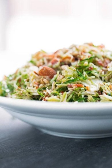 This Bacon and Brussels Sprouts salad from Pinch of Yum would be the perfect addition to anyone's Thanksgiving menu! With a lot of heavy side dishes it's nice to lighten things up with a salad! www.throughthepainteddoor.com
